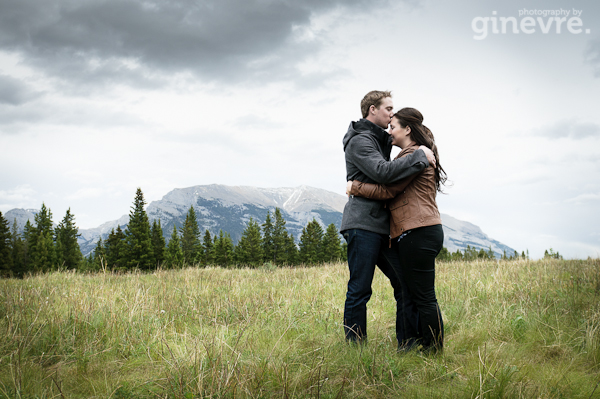 Canmore engagement photo at Quarry Lake