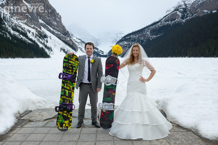 Lake Louise Wedding photo with snowboards