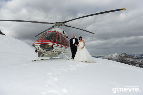 Heli-wedding photos at Golden