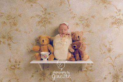 Newborn baby art greeting card with teddy bears