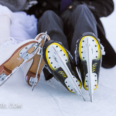 Canmore winter wedding skating bride and groom portrait