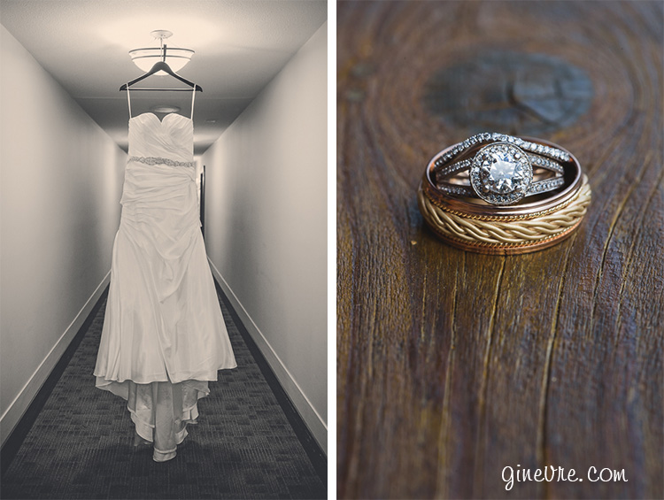 wedding dress and ring