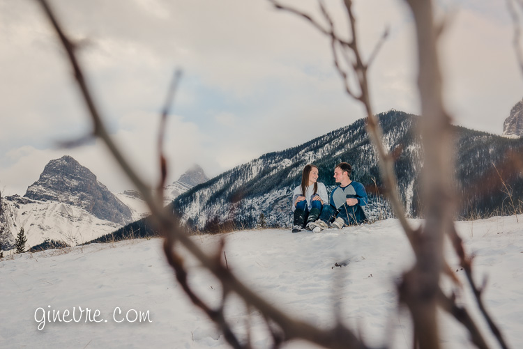 Canmore mountain winter engagement